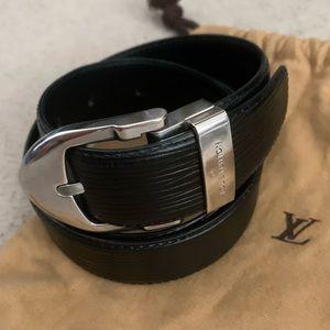 Louis Vuitton Black Epi Silver Buckle Belt 85cm 34